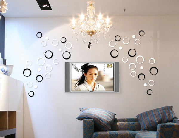 5pcs/1set 3D Circle DIY Removable Wall Art