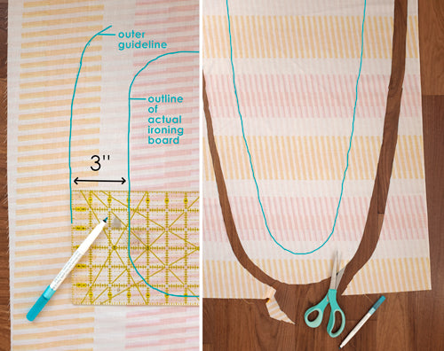Quick and Simple Free Ironing Board Cover Sewing Tutorial by The Weekend Quilter Cut Outline