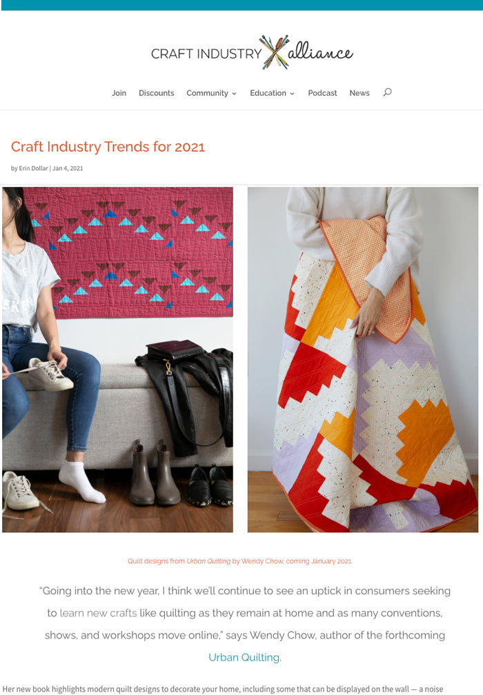 The Weekend Quilter Urban Quilting Craft Industry Trends 2021 Craft Industry Alliance Blog Feature