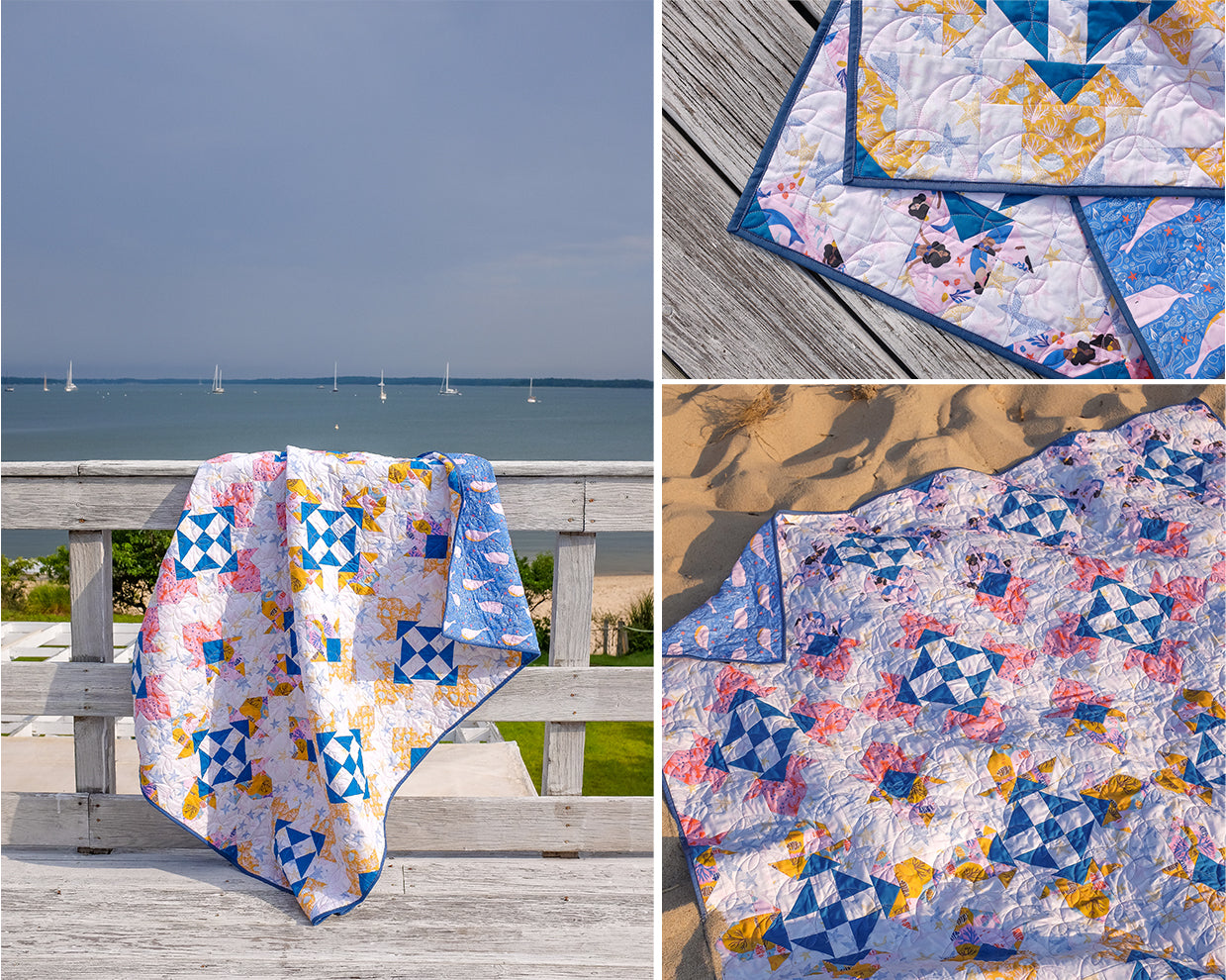 Build your no-waste flying geese, 8-in-1 half-square triangles and quick corner units skills with this free Ocean Gems quilt pattern by The Weekend Quilter for Paintbrush Studio Fabrics featuring Mable Tan Design's Under the Sea fabric collection. #freequiltpattern