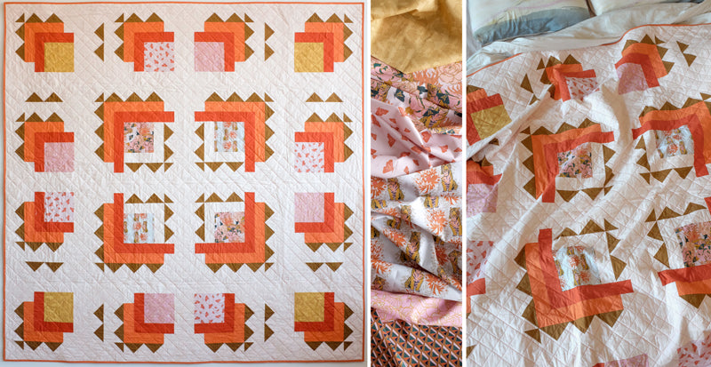 The Weekend Quilter Tiger Lily Free Modern Quilt Pattern In throw Size for Paintbrush Studio Fabrics