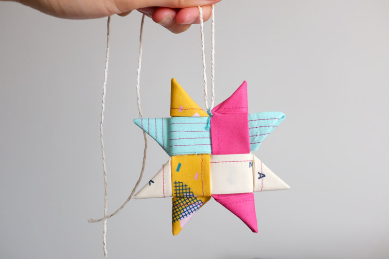 The Weekend Quilter Scandinavian Woven Fabric Star Christmas Tree Ornament and Gift Bow