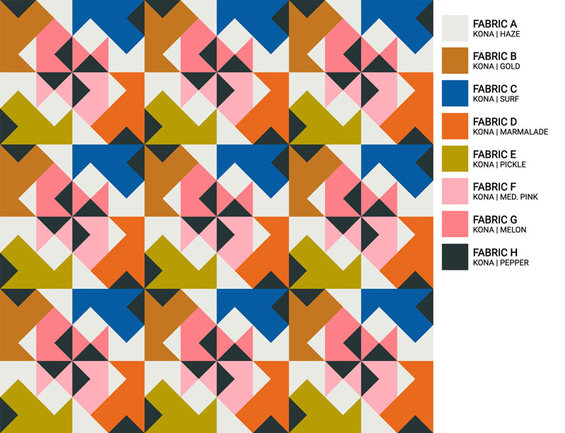 The Weekend Quilter Wind Tunnel Modern Quilt Pattern Baby and Throw Size Color Inspiration Rooftop Party
