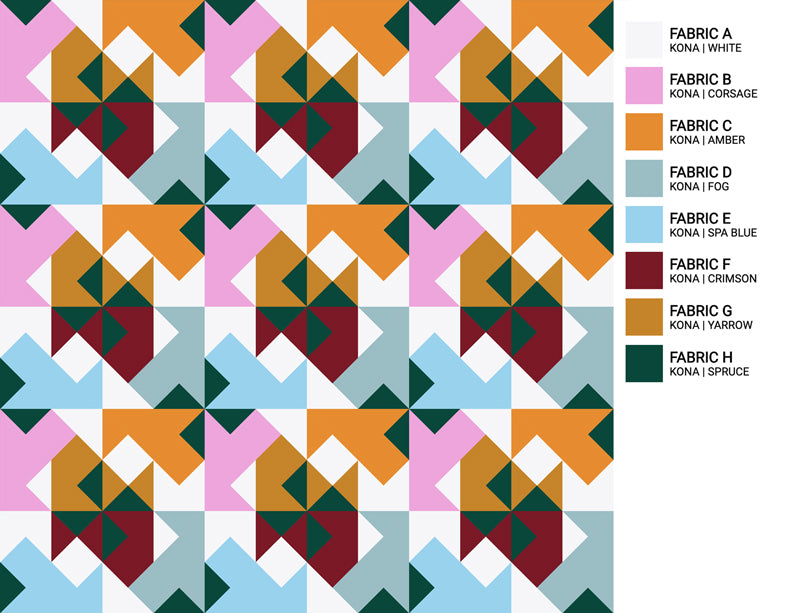 The Weekend Quilter Wind Tunnel Modern Quilt Pattern Baby and Throw Size Color Inspiration Bowery