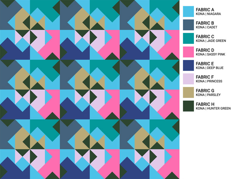 The Weekend Quilter Wind Tunnel Modern Quilt Pattern Baby and Throw Size Color Inspiration Downtown