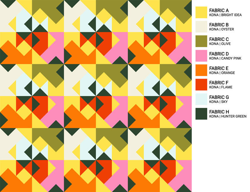 The Weekend Quilter Wind Tunnel Modern Quilt Pattern Baby and Throw Size Color Inspiration Summer Sets