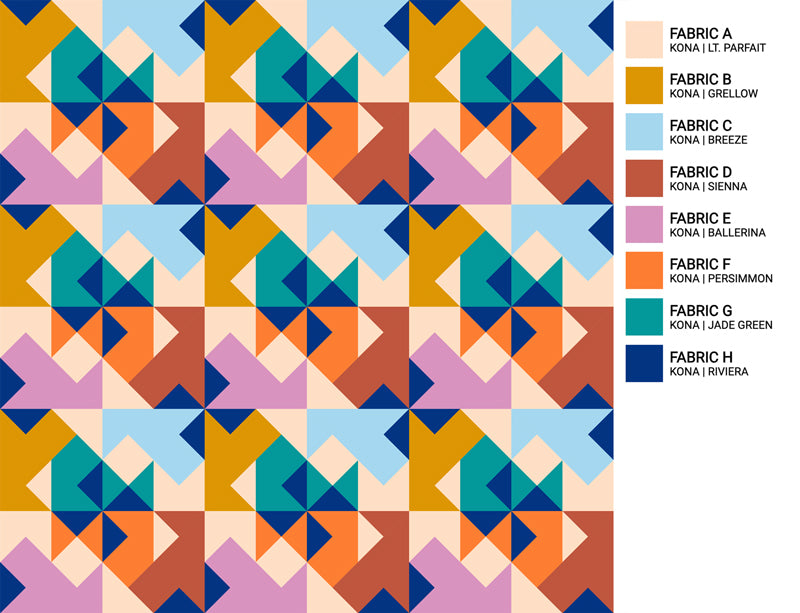The Weekend Quilter Wind Tunnel Modern Quilt Pattern Baby and Throw Size Color Inspiration Midtown