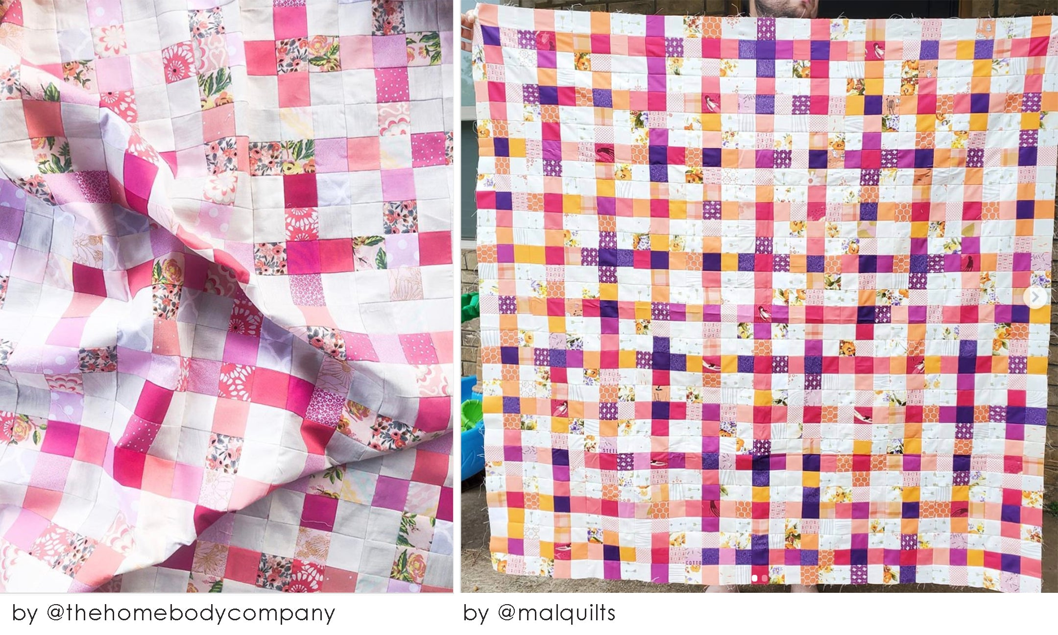 Monochromatic scrappy summer quilt sew along project pink