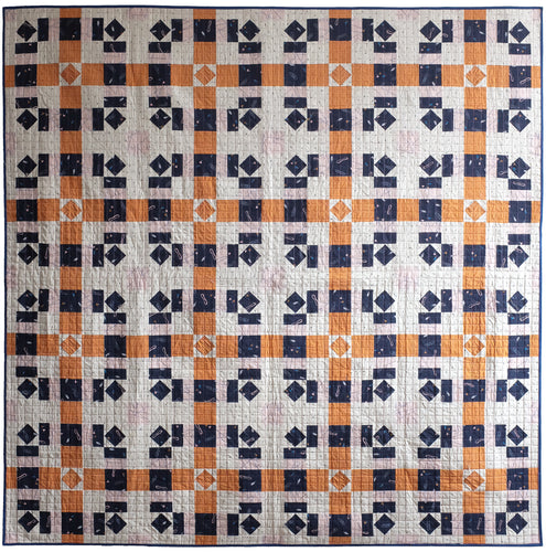 The Weekend Quilter Plaidful Modern Quilt Pattern for confident beginners in throw flatlay