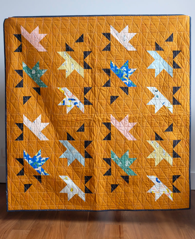 The Weekend Quilter Sample Sale Solar Slice Baby Size Quilt in Ruby Star Society Brown Rust