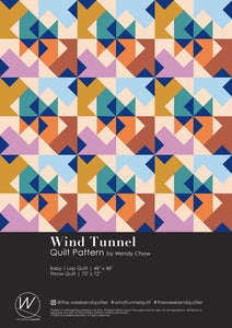 The Weekend Quilter Wind Tunnel Modern Pattern Cover and Dimensions