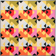 Load image into Gallery viewer, The Weekend Quilter Wind Tunnel Modern Throw Size Quilt in Yellow Kona Cotton Fabrics