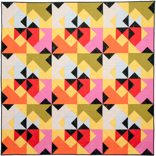 The Weekend Quilter Wind Tunnel Modern Throw Size Quilt in Yellow Kona Cotton Fabrics