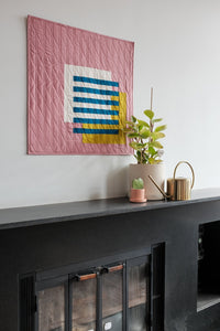Interlocked wall hanging quilt in rose by the.weekendquilter the weekend quilter design by broadcloth studio modern quilt mid century