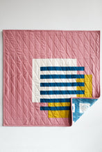 Load image into Gallery viewer, Interlocked wall hanging quilt in rose by the.weekendquilter the weekend quilter design by broadcloth studio modern quilt mid century