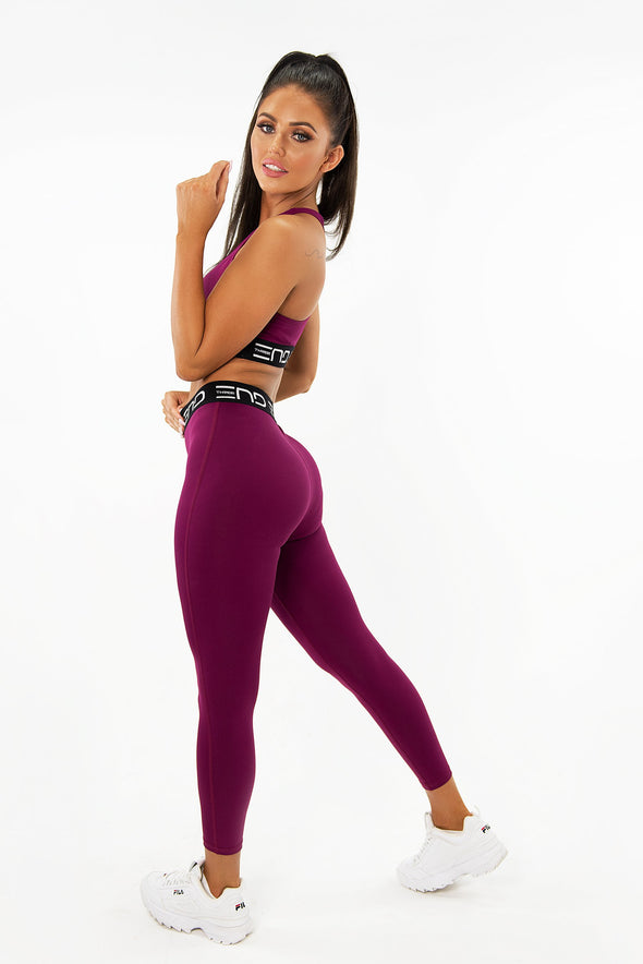 RACK HIGH WAIST LEGGINGS - MAROON (4164020240484)