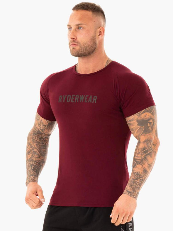 ACTIVE COTTON T-SHIRT- BURGUNDY (5783160717474)