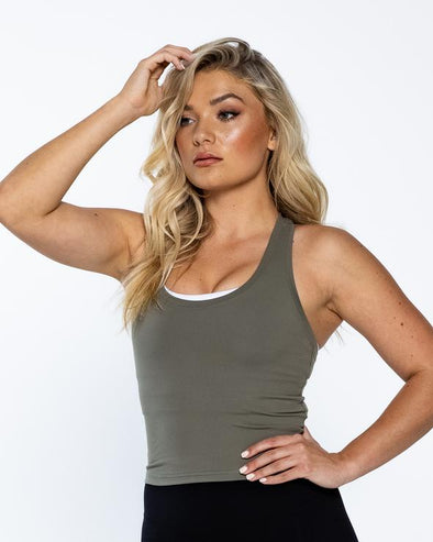 LUXE MIDRIFF TANK- OLIVE GREEN (5698242511010)