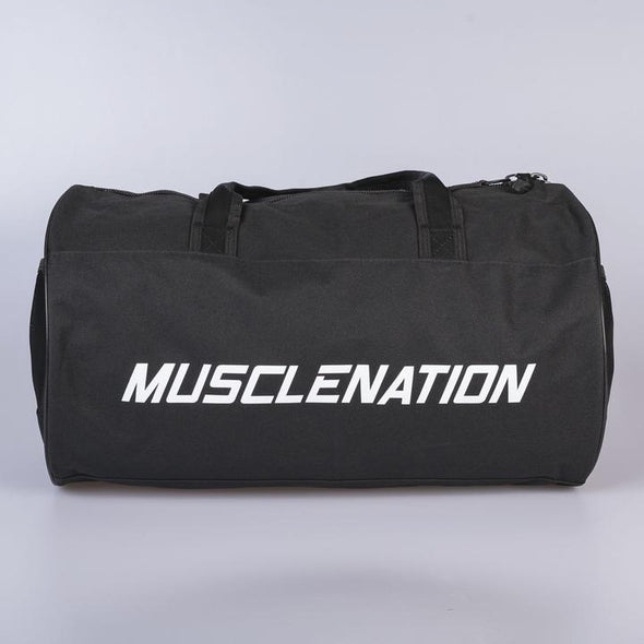 Muscle Nation Round Premium Gym Bag- Black/ White (4418511929444)