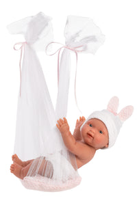 "Llorens 10.2"" Anatomically-Correct Baby Doll Sadie with Tulle Baby Swing"