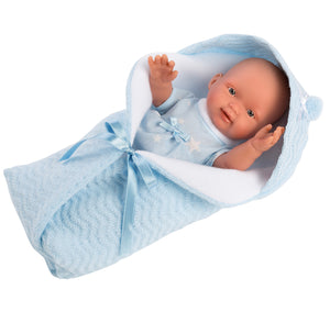"Llorens 10.2"" Anatomically-correct Baby Doll Braydon With Swaddle Blanket - NEW!"