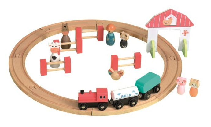 Egmont Toys Wood Farm Train Set with Animals and Bridge - NEW!