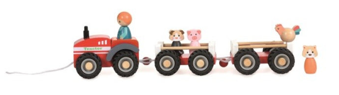 Egmont Toys Wood Farm Tractor with Two Trailers and Animals - NEW!