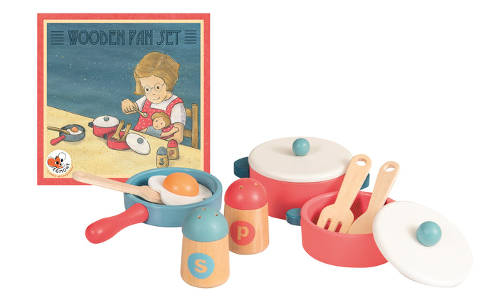 Egmont Toys 11-piece Wood Pretend Play Kitchen Cooking Pan Set - NEW!
