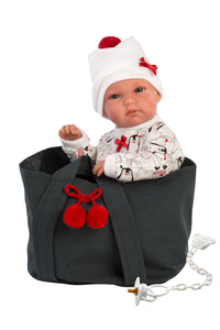 "Llorens 13.8"" Anatomically-correct Baby Doll Lucy With Cherry Carrycot"