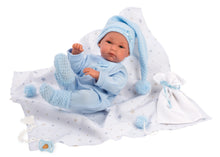 "Load image into Gallery viewer, Llorens 13.8"" Anatomically-correct Baby Doll Kayden With Blanket and Stocking Cap - NEW!"