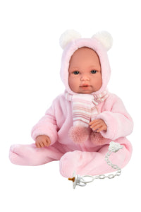 "Llorens 14"" Crying Baby Doll Amelia with Swaddle Blanket Backpack"