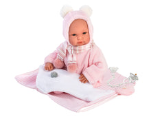 "Load image into Gallery viewer, Llorens 14"" Crying Baby Doll Amelia with Swaddle Blanket Backpack"