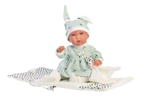"Llorens 16.5"" Crying Soft Body Baby Doll Francesca With Baby Changer"