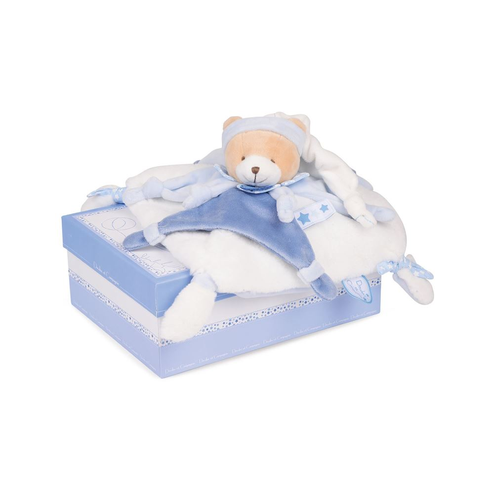 Doudou et Compagnie Blue Bear Blanket Plush Pal - NEW!