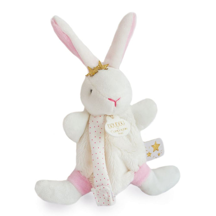 Doudou et Compagnie Star Pink Bunny Plush Pacifier Holder