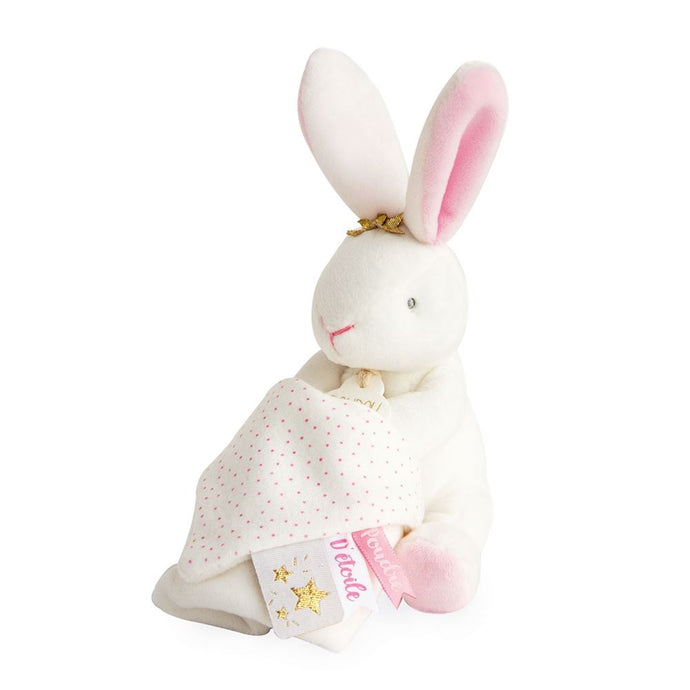 Star Pink Bunny Plush Stuffed Animal with Doudou Baby Blanket