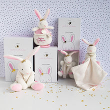 Load image into Gallery viewer, Doudou et Compagnie Star Pink Bunny Baby Plush Stuffed Animal