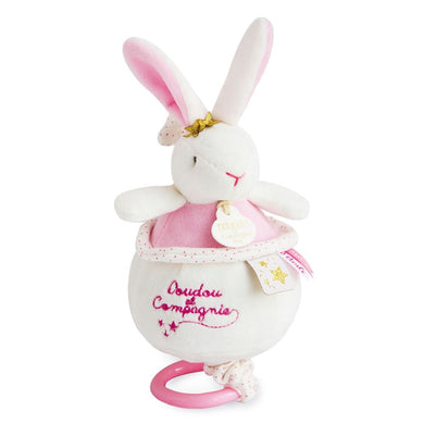 Doudou et Compagnie Star Pink Bunny Musical Pull Toy