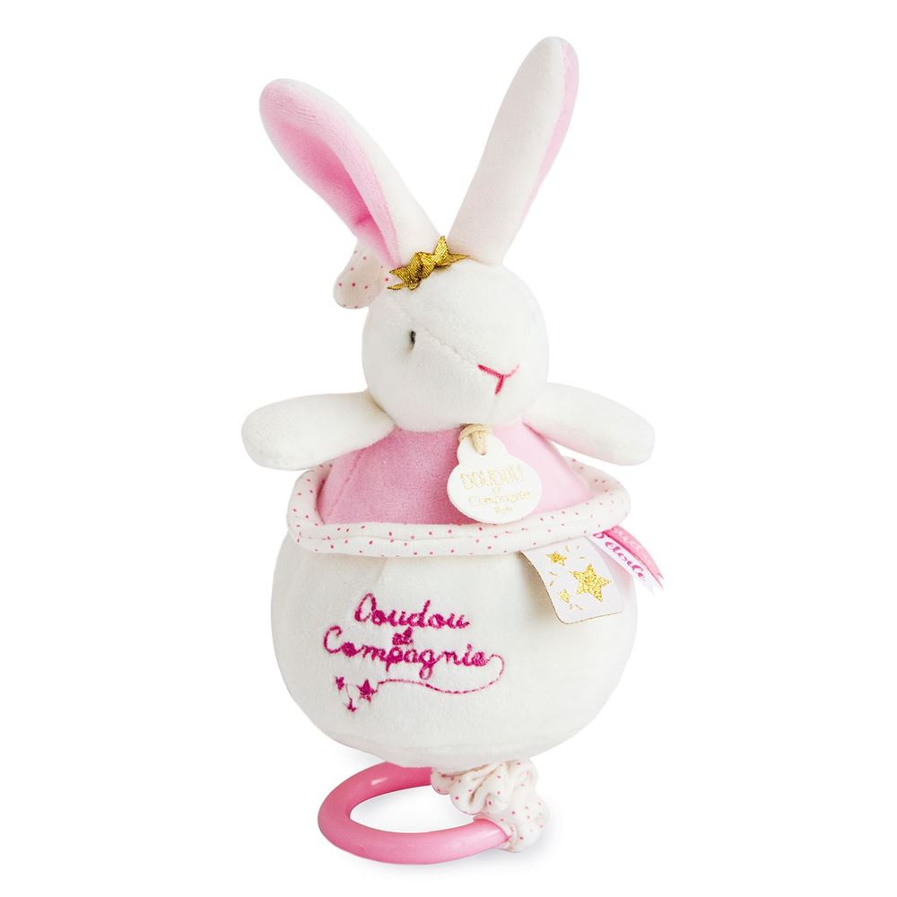 Star Pink Bunny Plush Animal Music Box