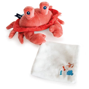 Doudou et Compagnie Under the Sea: Coral Crab Plush with Doudou blanket - NEW!
