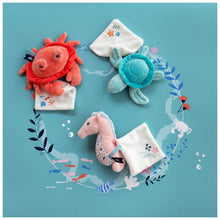 Load image into Gallery viewer, Doudou et Compagnie Under the Sea: Coral Crab Plush with Doudou blanket - NEW!