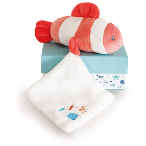 Doudou et Compagnie Under the Sea: Coral Clownfish Plush with Doudou blanket -NEW!