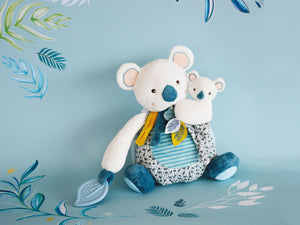 Doudou et Compagnie Yoka the Koala Plush Mama with Baby and Teething Ring - NEW!
