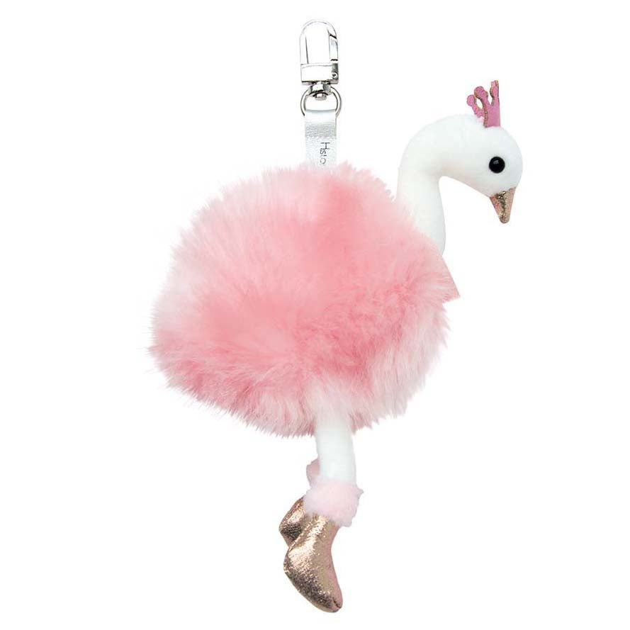 Histoire D'ours Key Ring Pink Swan - 7.5inches