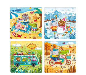 Mideer Set of 4 Progressive Puzzles: Seasons Winter, Spring, Autumn and Summer
