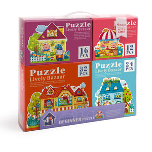 Mideer Set of 4 Progressive Puzzles: Lively Bazaar Homes and Shops