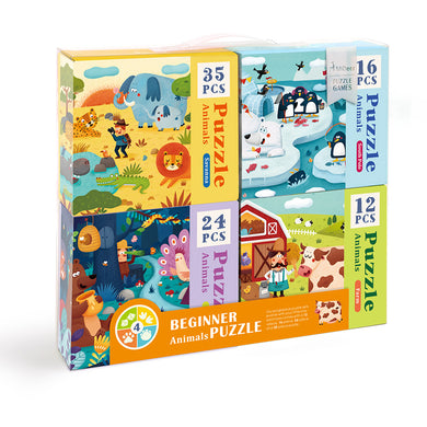 Mideer Set of 4 Progressive Puzzles: Animals in Savanna, South Pole, Farm and Forest