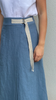 Linen wrap skirt with contrast stitching