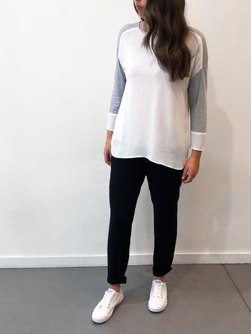 Georgette/Jersey spliced top lt char