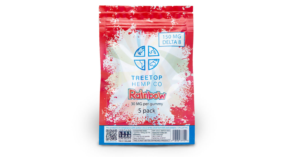 Rainbow 5 pack D8 Gummies | Treetop Hemp Co. | URTH CBD